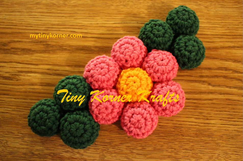 Bottle Cap Hot Pad Shaped Into A Pink Flower 100 Cotton